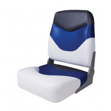 Сиденье мягкое складное Premium High Back Boat Seat, бело-синее