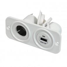 Панель с USB-разъемом 5В/2.4А и прикуривателем, белая