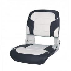 Сиденье пластмассовое складное с подложкой All Weather High Back Seat, бело-чёрное