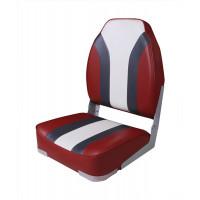 Сиденье мягкое складное High Back Rainbow Boat Seat, красно-белое (Уц)