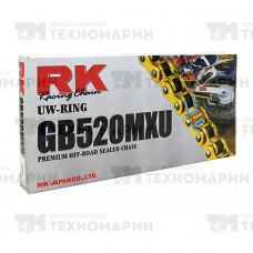 Цепь для мотоцикла до 500 см³ (золотая, с сальниками UW-RING) GB520MXU-120