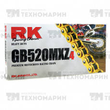 Цепь для мотоцикла до 500 см³ (золотая, без сальников) GB520MXZ4-120