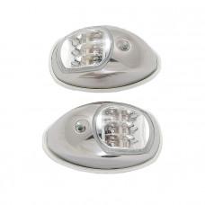 Огни бортовые светодиодные 95х60 мм, нержавеющая сталь, белая прокладка