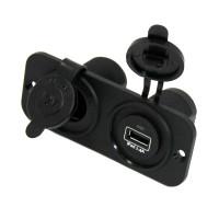 Панель с USB-разъемом 5В/2.4А и прикуривателем, черная