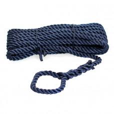 Трёх прядный трос швартовый 10мм*10м тёмно-синий