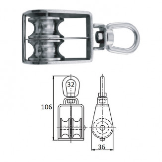 Блок 2-шкив. со скобой 32 мм