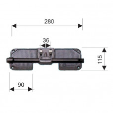 Алюминевая транцевая опора рулевого троса 280х115мм