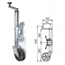 Кронштейн стояночный трейлерный, колесо пластиковое
